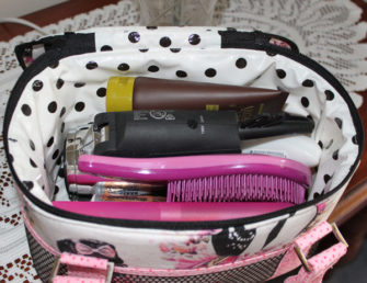 Inside the Ms. Hepburn Bree's Box Toiletry Caddy - so much stuff! - Andrie Designs