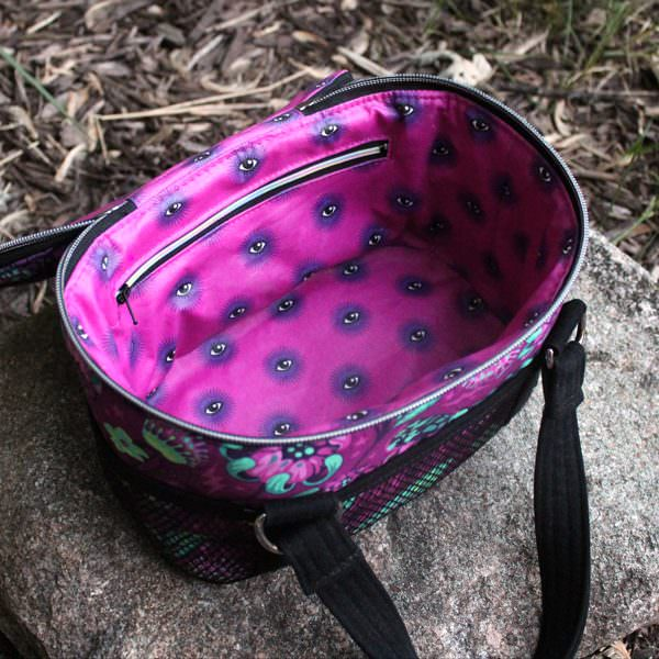 Pink and purple lining for the Tula Pink De La Luna Bree's Box Toiletry Caddy! - Andrie Designs