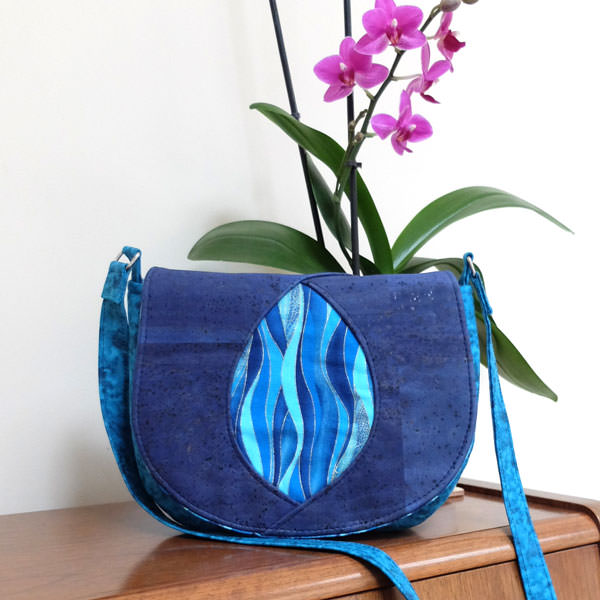 Waves and blue cork make up this Peekaboo Purse - Andrie Designs