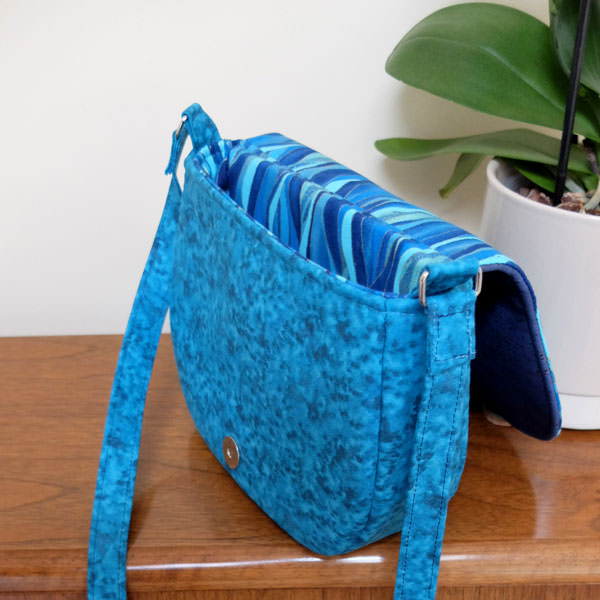 Inside the waves and blue cork Peekaboo Purse - Andrie Designs