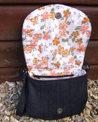Underside of the flap on the floral and denim Peekaboo Purse - Andrie Designs