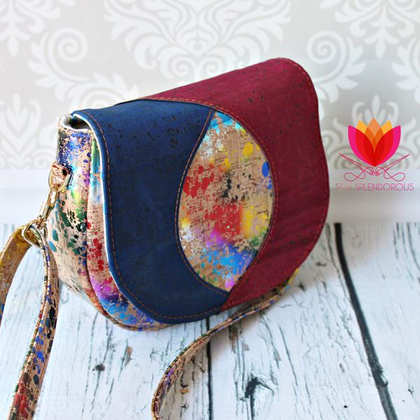 Side view of the all cork Peekaboo Purse - Andrie Designs