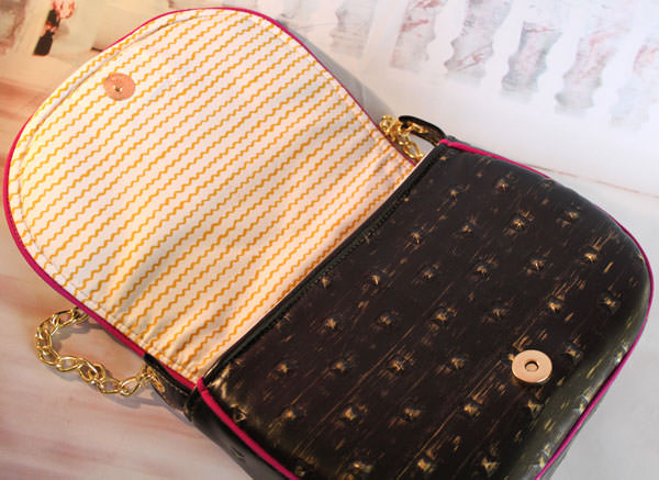 Inside the gothic and gold Peekaboo Purse - Andrie Designs