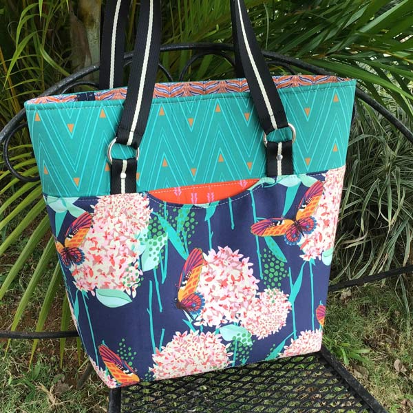 It's floral and butterflies for this Classic Market Tote - Andrie Designs