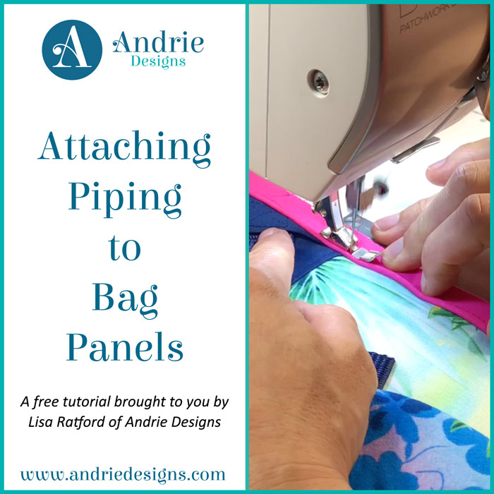 Attaching Piping to Bag Panels - Andrie Designs