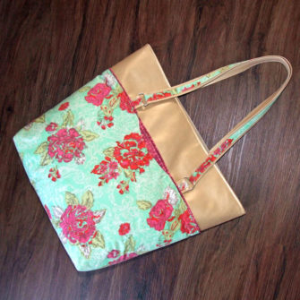 Floral, aqua and gold - check! This is one beautiful Classic Market Tote - Andrie Designs