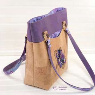 Side view of the lavender and cork for this Classic Market Tote - Andrie Designs