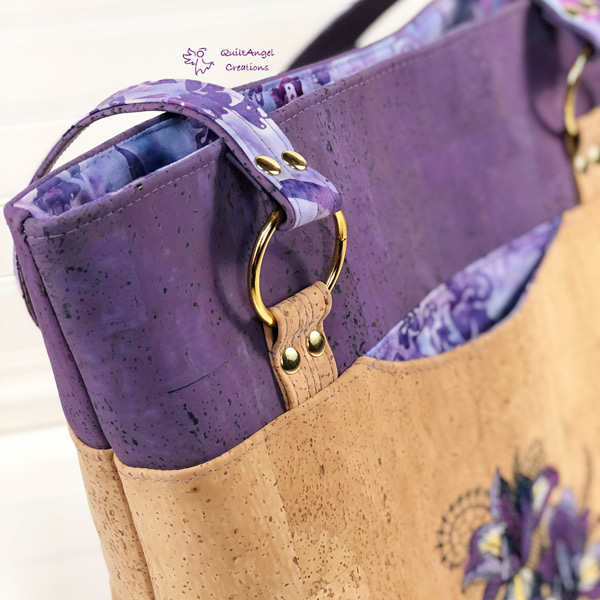Beautiful gold O-Rings on the lavender and cork for this Classic Market Tote - Andrie Designs