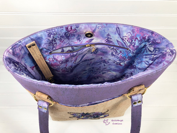 Inside the lavender and cork for this Classic Market Tote - Andrie Designs
