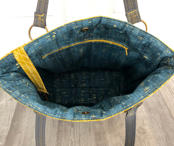 Inside the beautiful earthy tones Classic Market Tote - Andrie Designs
