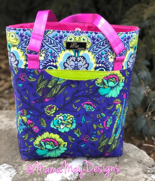 Full view of the Tula Pink and hot pink vinyl Classic Market Tote - Andrie Designs