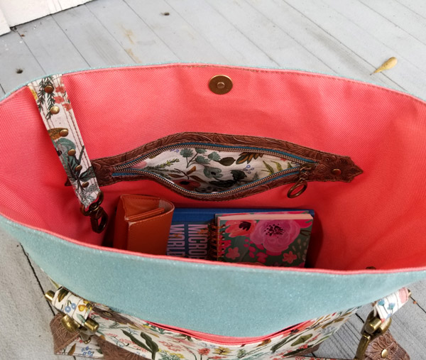 Inside the floral and antique brass Classic Market Tote - Andrie Designs