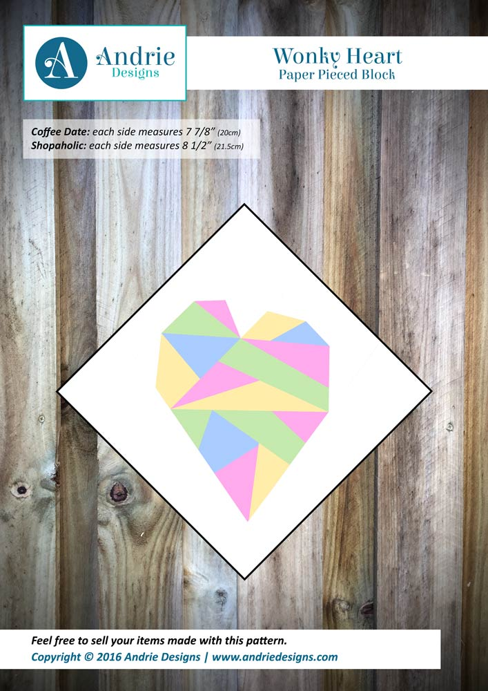 Wonky Heart Paper Pieced Block - Andrie Designs