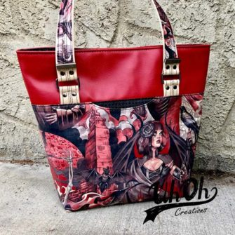 It was red vinyl and funky fabric for this Classic Market Tote - Andrie Designs