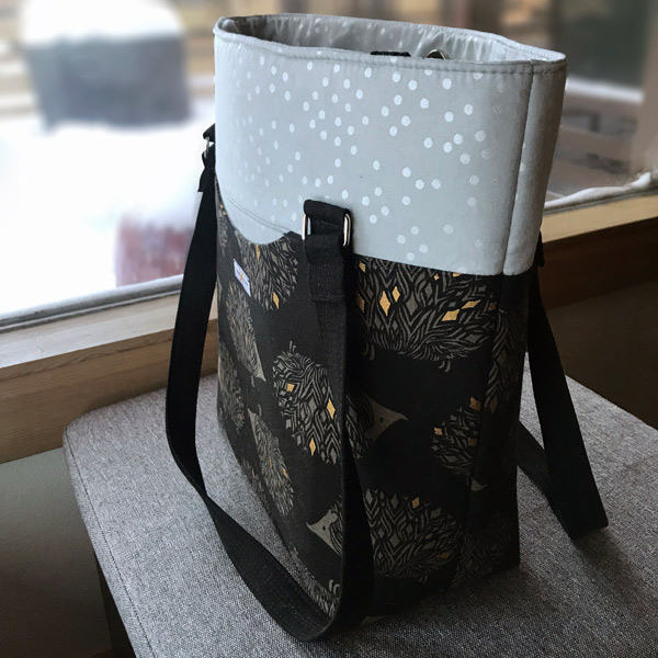 Side view of the hedgehog Classic Market Tote - Andrie Designs