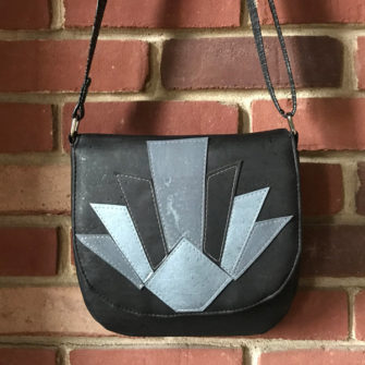 Black and grey tones 'fan' motif - That Flap Saddlebag - Andrie Designs