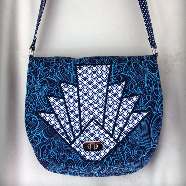 Texture and blues make up this 'fan' motif That Flap Saddlebag - Andrie Designs
