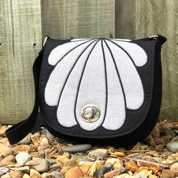 Black and silver 'clamshell' motif That Flap Saddlebag - Andrie Designs