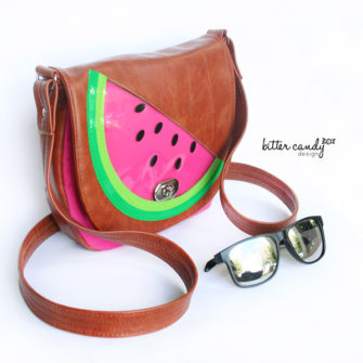 Vinyl 'watermelon' motif That Flap Saddlebag - Andrie Designs