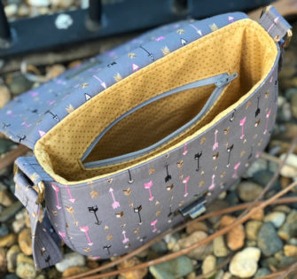 Inside the grey and gold 'clamshell' motif That Flap Saddlebag - Andrie Designs