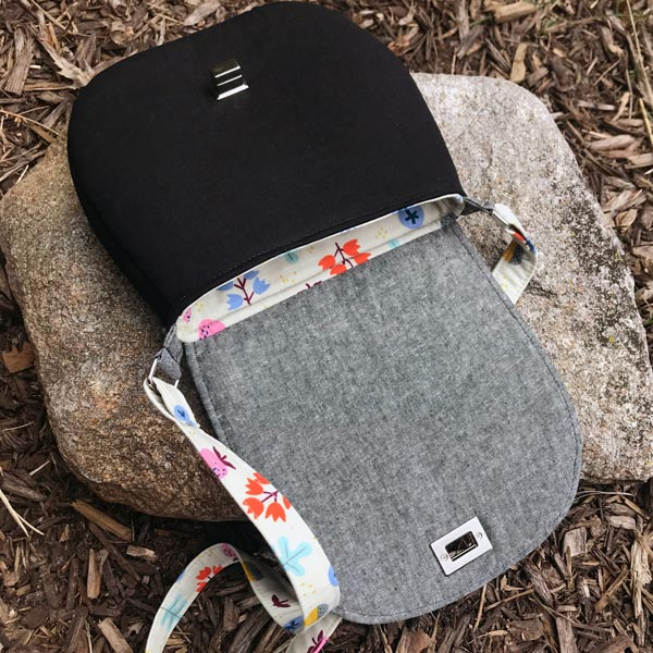 Inside the summery 'flower' motif That Flap Saddlebag - Andrie Designs