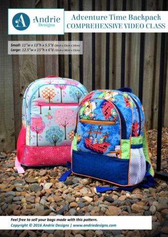 Andrie Designs - Adventure Time Backpack - Comprehensive Video Class