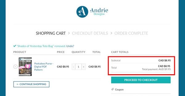 Cart with preferred method - FAQ Post #5 - Andrie Designs