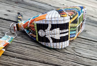Gusset shot of the Bee Inspired V Pouch - Andrie Designs