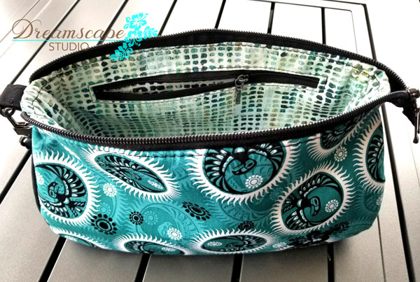Inside the teal and black V Pouch - Andrie Designs