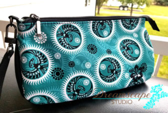 Teal and black V Pouch - Andrie Designs