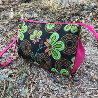 Textured floral V Pouch - Andrie Designs