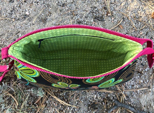 Inside the textured floral V Pouch - Andrie Designs