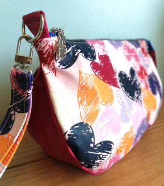 End view of the love hearts V Pouch - Andrie Designs