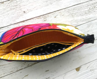 Interior of the bright and colourful V Pouch - Andrie Designs