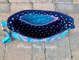 Inside the colourful V Pouch - Andrie Designs