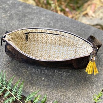 Inside the black and gold V Pouch - Andrie Designs