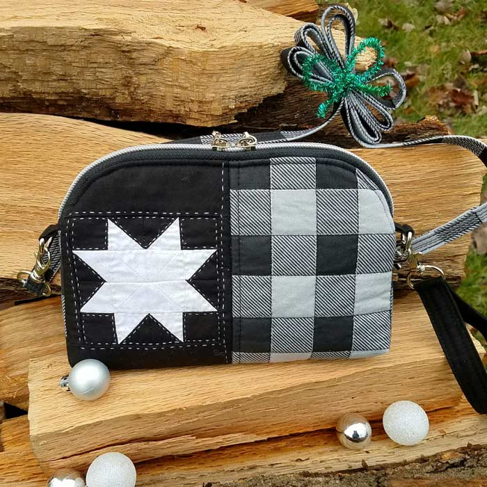 Festive black and white Gemma Carryall Pouch - Andrie Designs