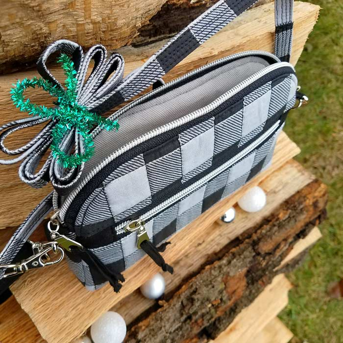 Inside the festive black and white Gemma Carryall Pouch - Andrie Designs