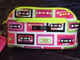 Back view of the retro cassette tapes Gemma Carryall Pouch - Andrie Designs