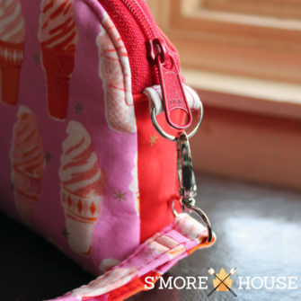 Detail shot of the ice cream Gemma Carryall Pouch - Andrie Designs