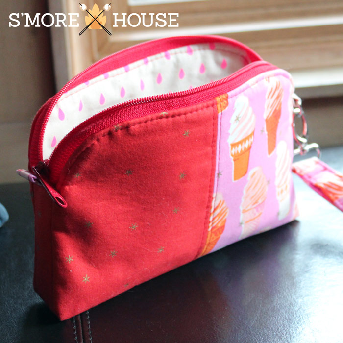 Sneak peak at the inside of the ice cream Gemma Carryall Pouch - Andrie Designs