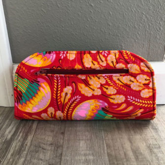Rear view of the floral and cork Cleo Everyday Wallet - Andrie Designs