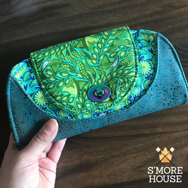 Striking teal and cork Cleo Everyday Wallet - Andrie Designs