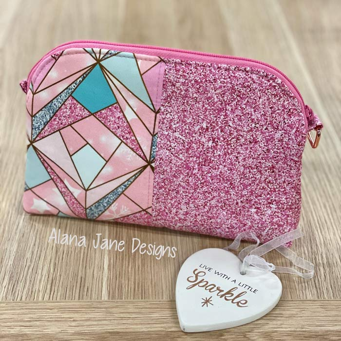 Pink and sparkly Gemma Carryall Pouch - Andrie Designs