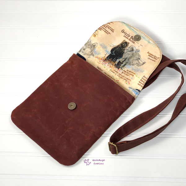 Open view of the nature-themed Polly Cross Body Pouch - Andrie Designs