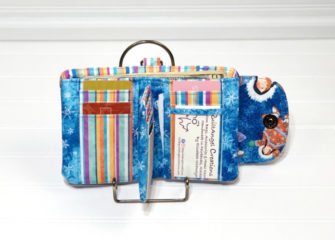 Inside of Elizabeth's blue Layla Essentials Purse - Andrie Designs