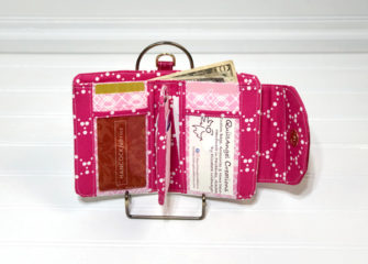 Inside of Elizabeth's vinyl Layla Essentials Purse - Andrie Designs