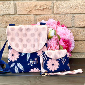 Beautiful Blush Polly Cross Body Pouch (with coordinating Layla Essentials Purse) - Andrie Designs