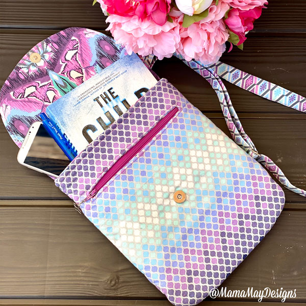 Open view of the enlarged Tula Pink-themed Polly Cross Body Pouch - Andrie Designs