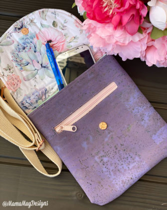 Open view of the floral and cork Polly Cross Body Pouch - Andrie Designs